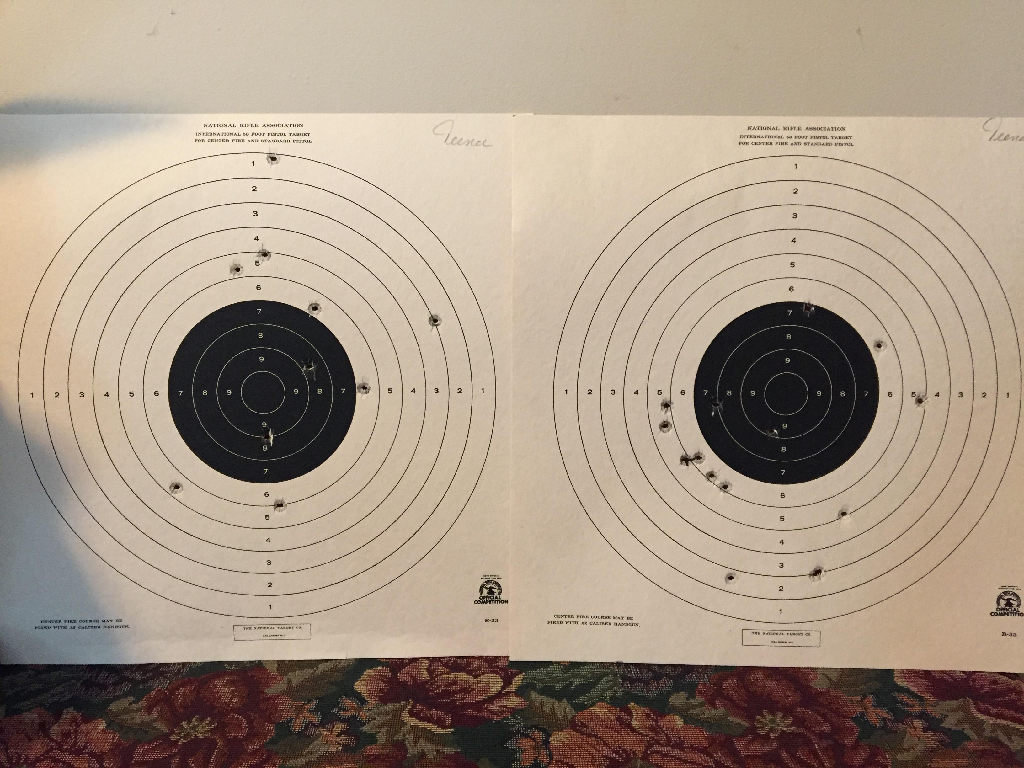 Gun Range Targets Left - Ben, Right - Me